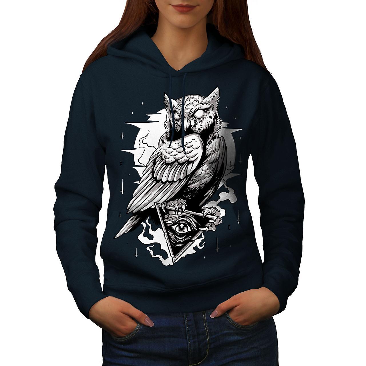 Triangle Owl Women NavyHoodie | Wellcoda