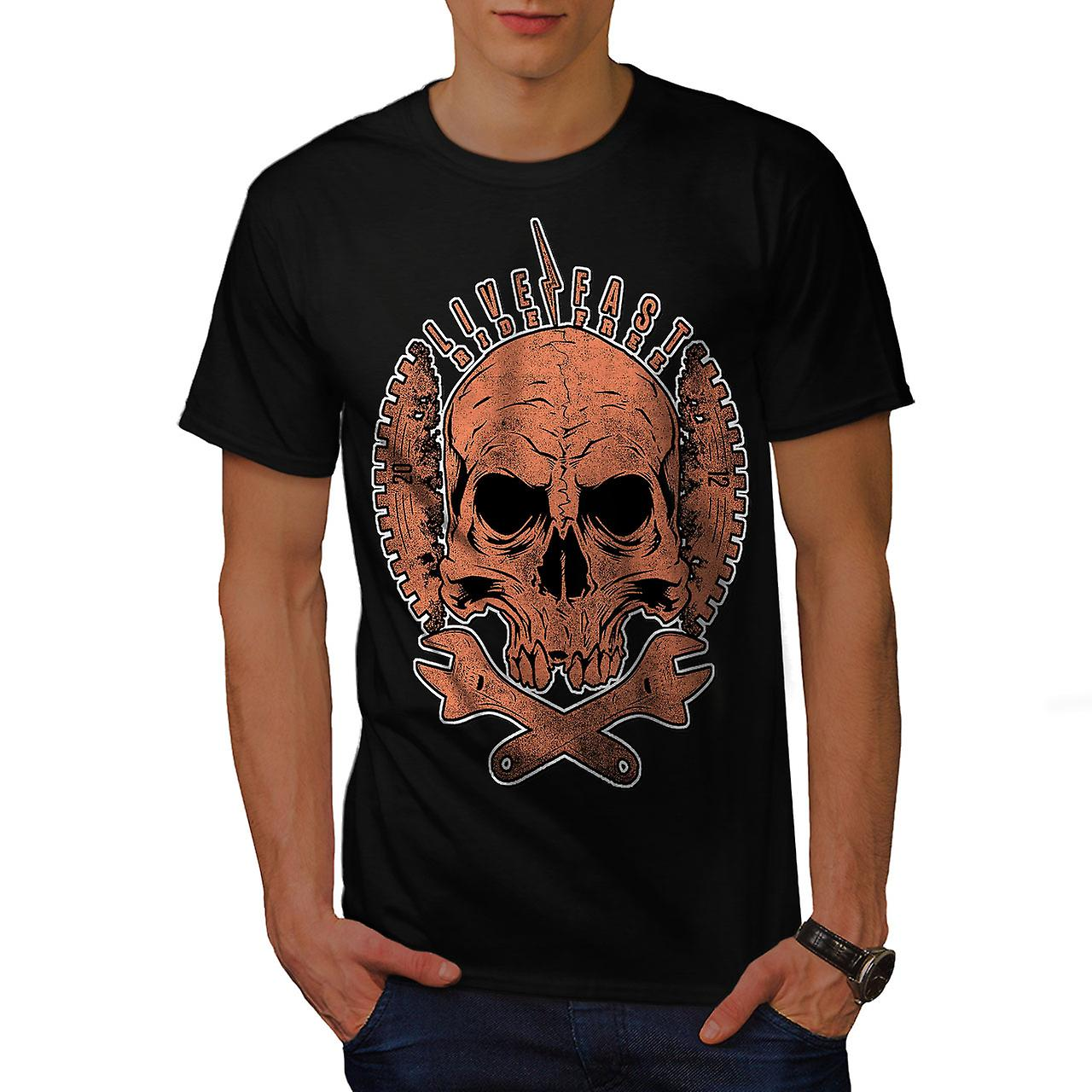 Live Fast Biker Skull Men Black T-shirt | Wellcoda