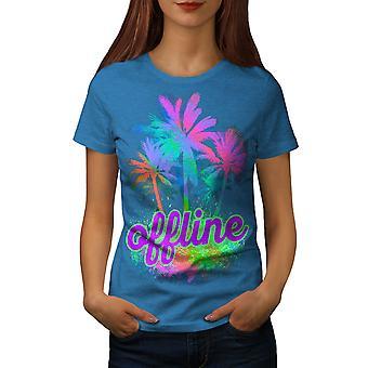 Palm Hawaii Sunny Women Royal BlueT-shirt | Wellcoda
