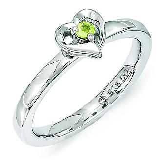 2.25mm Sterling Silver Polished Prong set Rhodium-plated Stackable Expressions Peridot Heart Ring - Ring Size: 5 to 10