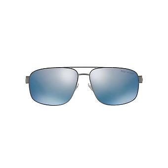 Polo Ralph Lauren Square Pilot Sunglasses In Semi Shiny Dark Gunmetal Blue Mirror Polarised