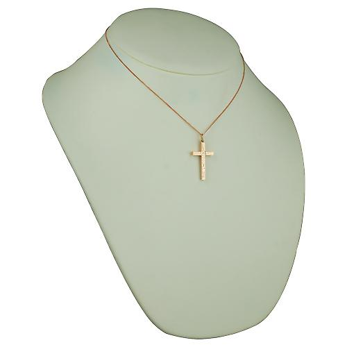 9ct Rose Gold 30x18mm victorian hand engraved solid block Cross with a curb Chain 16 inches Only Suitable for Children