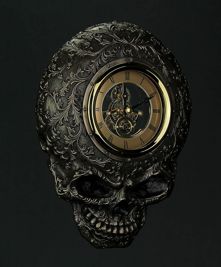 Face Clock Wall Skull Decorated Flat Smiling Transparent wmnvN80Oy