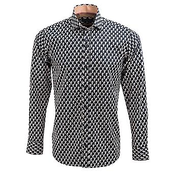 Guide London Pure Cotton Sateen Mens Shirt With Highlighted Paisley Design