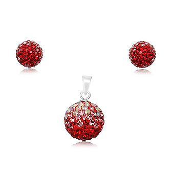 Jewelry pendant and earrings in Crystal Red and Silver 925