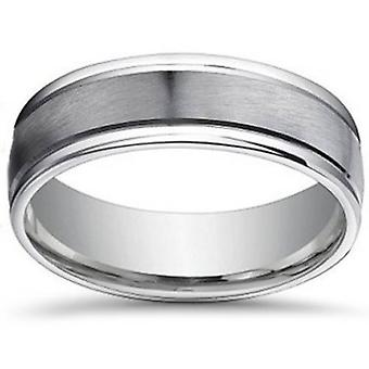 7mm Brushed Flat Platinum Mens Comfort Fit Wedding Band