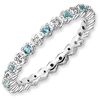 Sterling Silver Polished Prong set Rhodium-plated Stackable Expressions Blue Topaz and Diamond Ring - Ring Size: 5 to 10