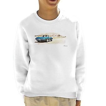 Chevrolet Corvette Stingray Convertible Desert Art White Kid's Sweatshirt