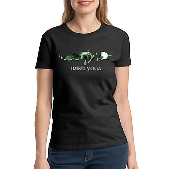 Humor Irish Yoga Women's Black T-shirt