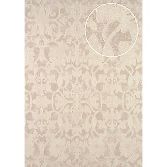 Baroque wallpaper ATLAS marked CLA-600-6 non-woven wallpaper with ornaments shiny perl white perl gold grey 5.33 m2