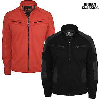 Urban classics cotton/Leathermix racer jacket