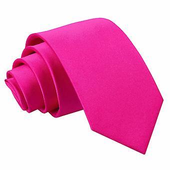 Hot Pink almindelig Satin slanke slips
