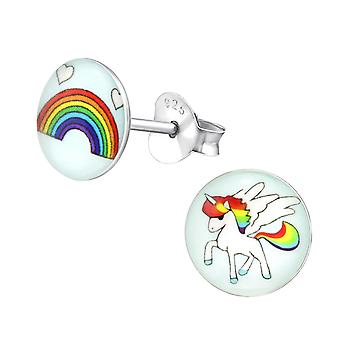 Rainbow And Unicorn - 925 Sterling Silver Colourful Ear Studs