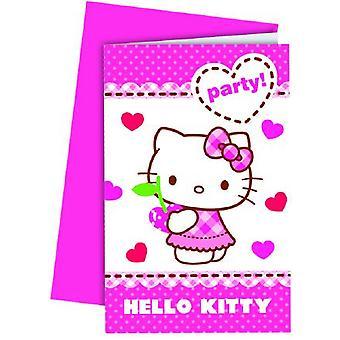 Hello Kitty Hearts Kätzchen Party Einladungskarten 6 Stück Kindergeburtstag Mottoparty
