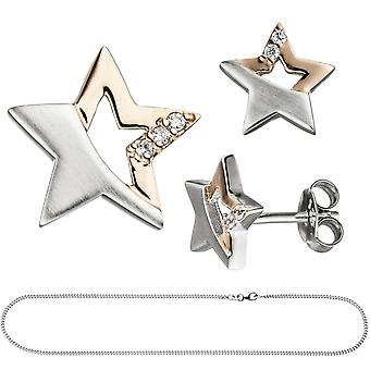 Children jewelry set star 925 Silver rose gold plated cubic zirconia necklace 42 cm