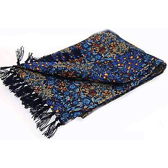 David Van Hagen Floral Luxury Fashion Silk Scarf - Navy/Blue