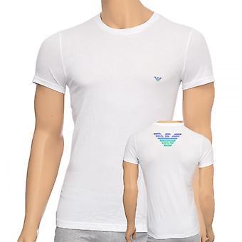 エンポリオ アルマーニのイーグル ストレッチ コットン クルー ネック t シャツ、ホワイト、大 ×
