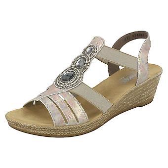 Ladies Rieker Wedge Sandals 62459