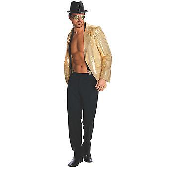 Gold Sequin 1920s Magician Cabaret Circus Ringmaster Mens Costume Jacket