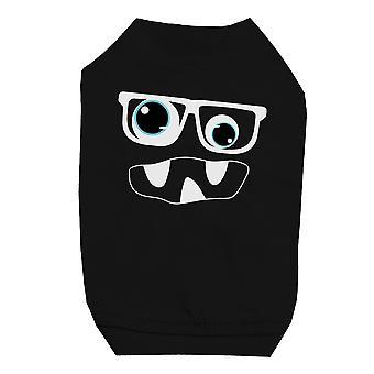 モンスターと小型犬用の黒のペット t シャツのメガネ