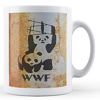 Printed mug featuring Banksy's, 'WWF Pandas' artwork