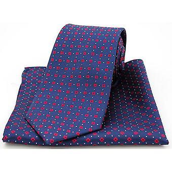David Van Hagen Neat Box Pattern Tie and Pocket Square Set - Navy/Red