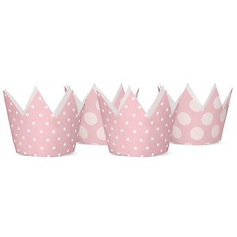 4 Spotty Pastel Pink Card Crowns for Kids Parties | Kids Birthday Party Hats