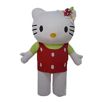SPOTSOUND mascot hello Kitty, with a red top with white polka dots
