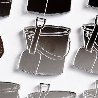 Seaside Beach Bucket & Spade Mini Craft Sized Acrylic Mirrors (10Pk)