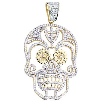 Premium Bling - 925 sterling silver calavera pendant gold