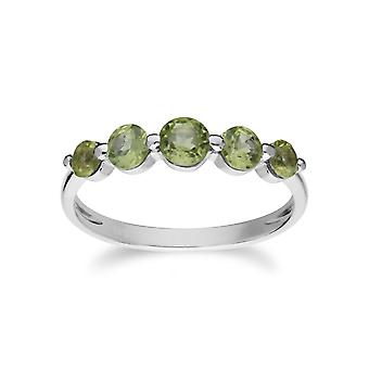 Gemondo Sterling Silver Five Stone Peridot Round Gradient Ring