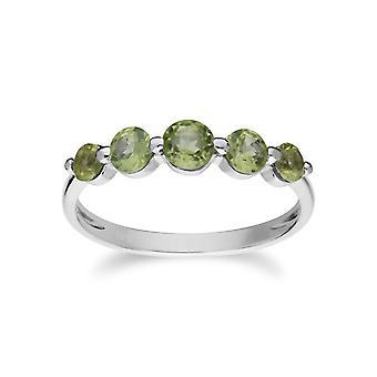Gemondo argento cinque pietra peridoto gradiente anello rotondo