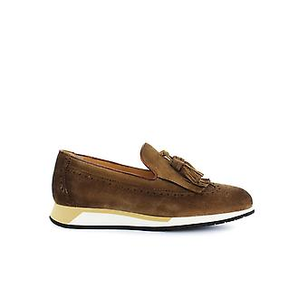 SANTONI LIGHT BROWN SUEDE MOCCASIN WITH TASSELS