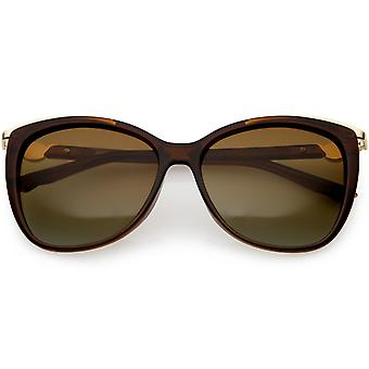Women's Classic Metal Trim Square Cat Eye Sunglasses Polarized Lens 55mm