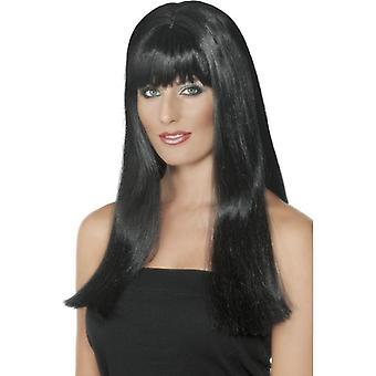 Long Black Straight Wig, Mystique Wig, Fancy Dress Accessory