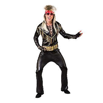 Rocker Kostüm Schwarz/Gold Einfassung (54)