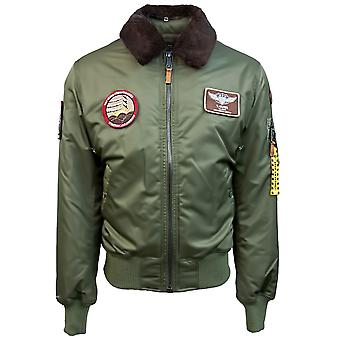 Top Gun B 15 Nylon Bomber Jacket with Removable Patches Olive