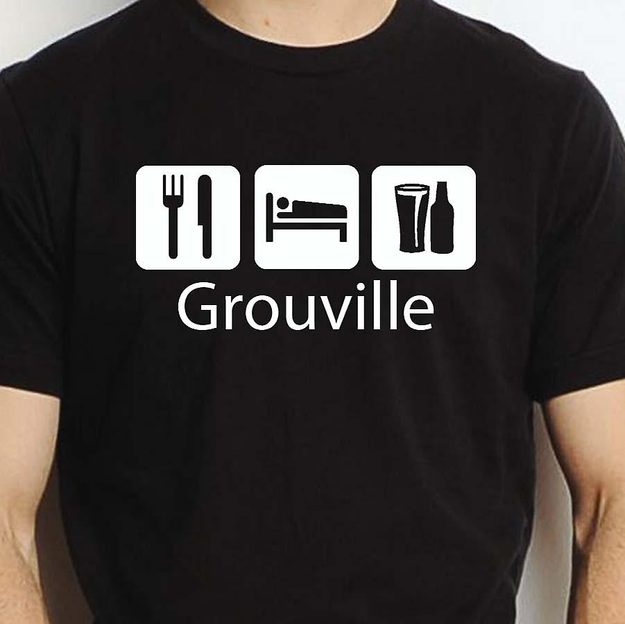 Eat Sleep Drink Grouville Black Hand Printed T shirt Grouville Town