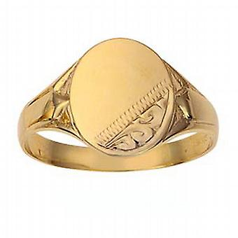 9ct Gold 13x12mm gents engraved oval Signet Ring Size X
