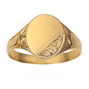 9ct Gold 13x12mm gents engraved oval Signet ring