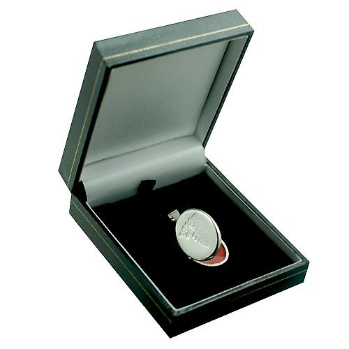 Silver 26x19mm engraved medical alarm flat oval Locket