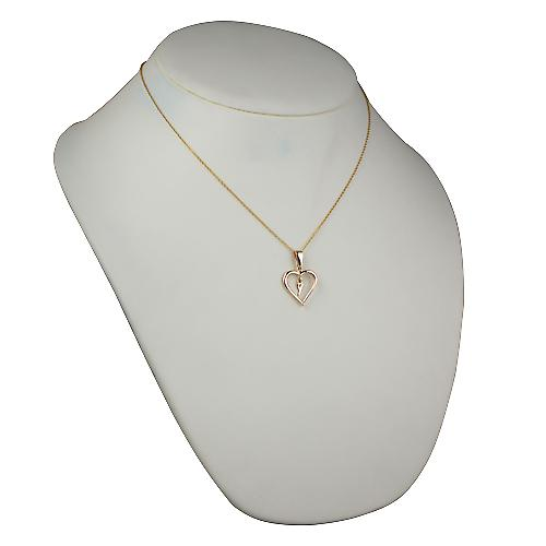 9ct Gold 18x18mm initial Y in a heart Pendant with a cable Chain 18 inches