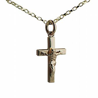 9ct Gold 20x13mm solid block Crucifix Cross with belcher Chain 16 inches Only Suitable for Children