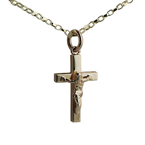 9ct Gold 20x13mm block Crucifix with Belcher chain