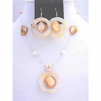 Round Shell Pendant Jewelry Set Freshwater Pearl Sleek Wire Necklace set