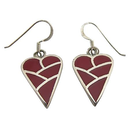 Coral Heart Inlaid Sterling Silver Inlaid Heart Red Coral Earrings