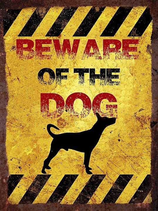 Vintage Metal Wall Sign - Beware of the dog