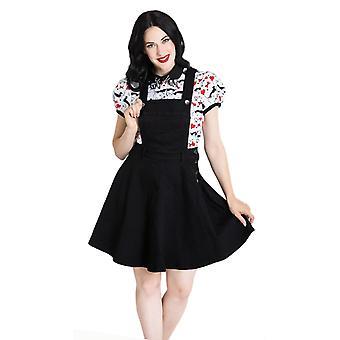 Hell Bunny Black Dakota Pinafore Dress M
