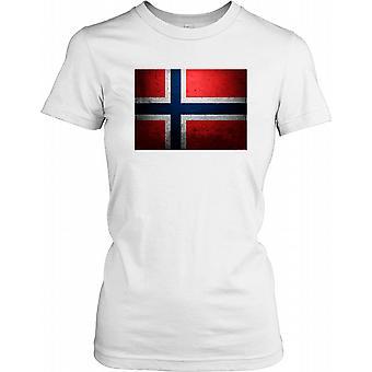 Norway Grunge Flag Ladies T Shirt