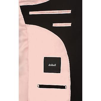 Dobell Mens Black Travel/Performance 2 Piece Suit Slim Fit Peak Lapel